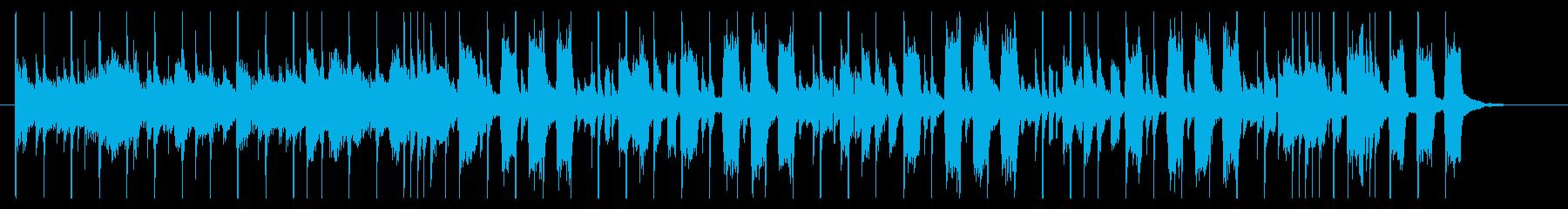 パーカッションが熱いポップロック風BGMの再生済みの波形