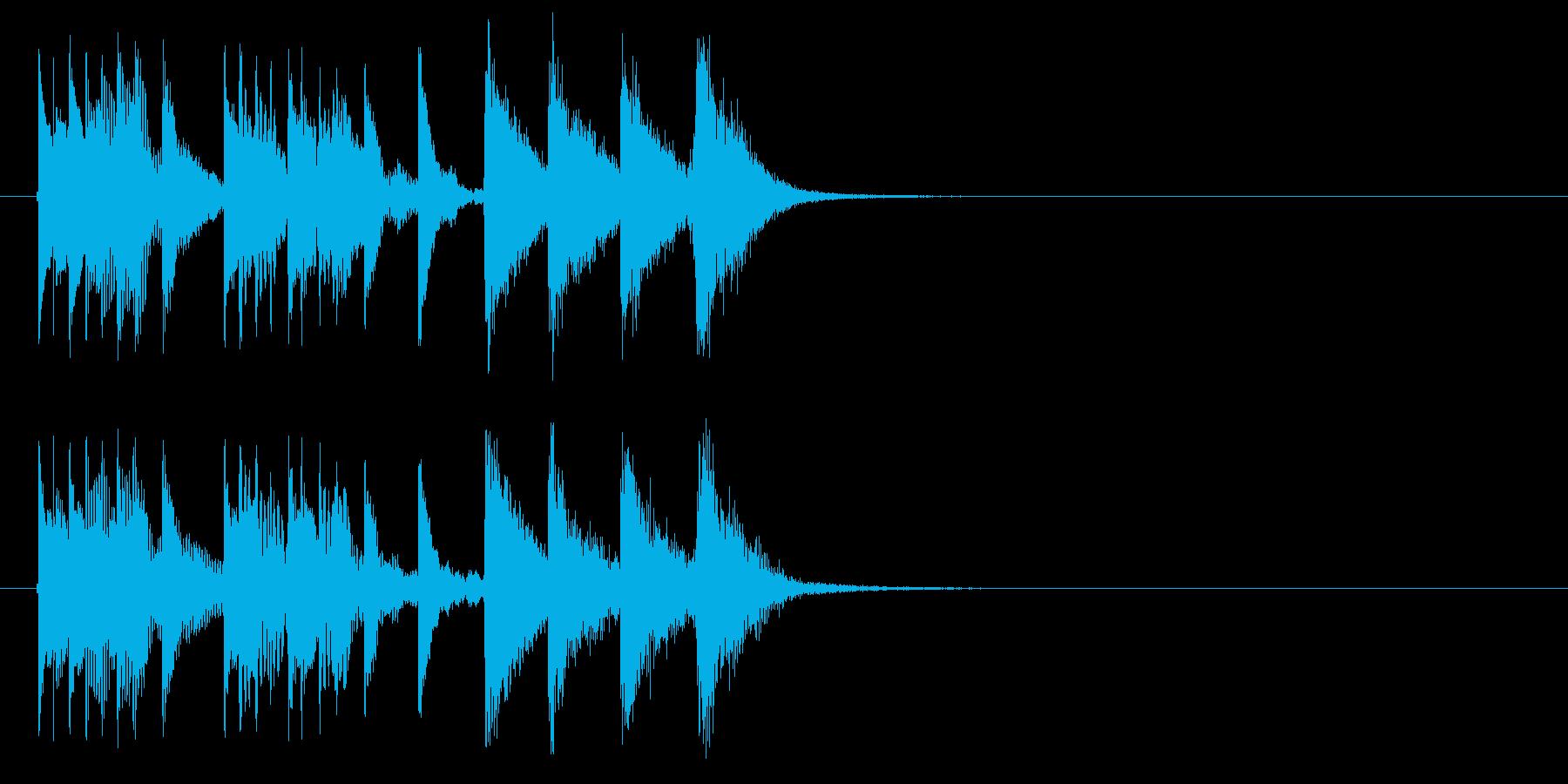 マリンバのシンプルなジングルの再生済みの波形