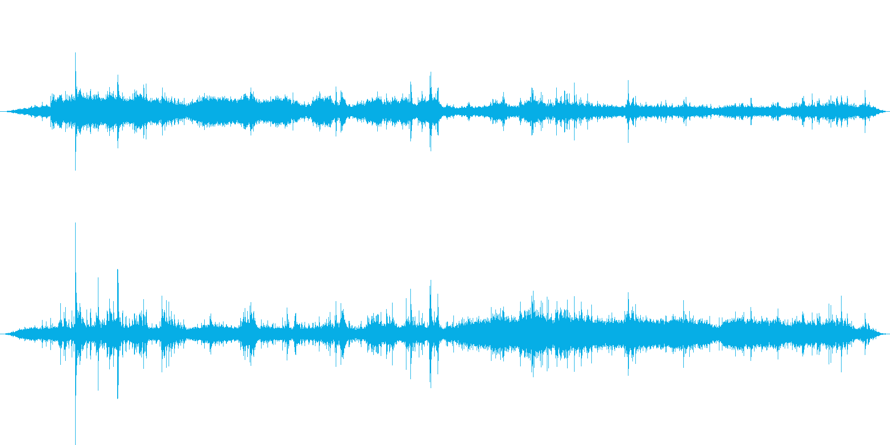 ASMR録音したシャワーを浴びる音の再生済みの波形