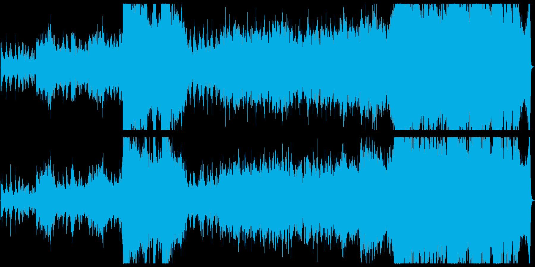 サティ風ピアノと派手なオーケストラの再生済みの波形