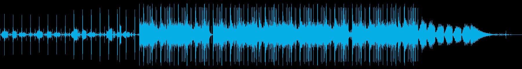 ゆるいテンポの癒やし系シンセとビートの再生済みの波形