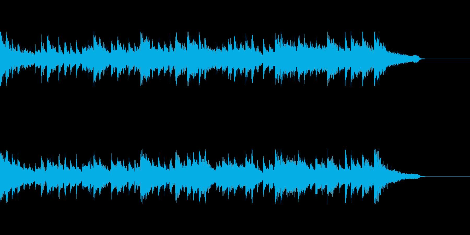 打楽器とピアノが印象的な30秒ジングルの再生済みの波形
