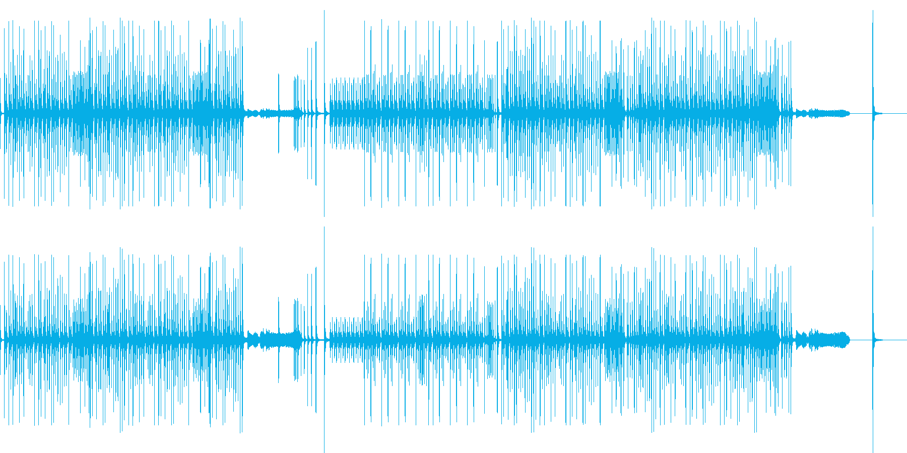 和楽器(打楽器のみ)でテンポの良いリズの再生済みの波形
