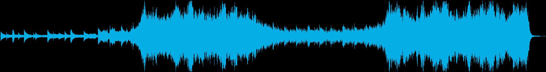 ピアノやオーケストラを使用した感動的な曲の再生済みの波形