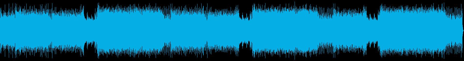 重いギターリフのカッコイイ系の四つ打ちの再生済みの波形