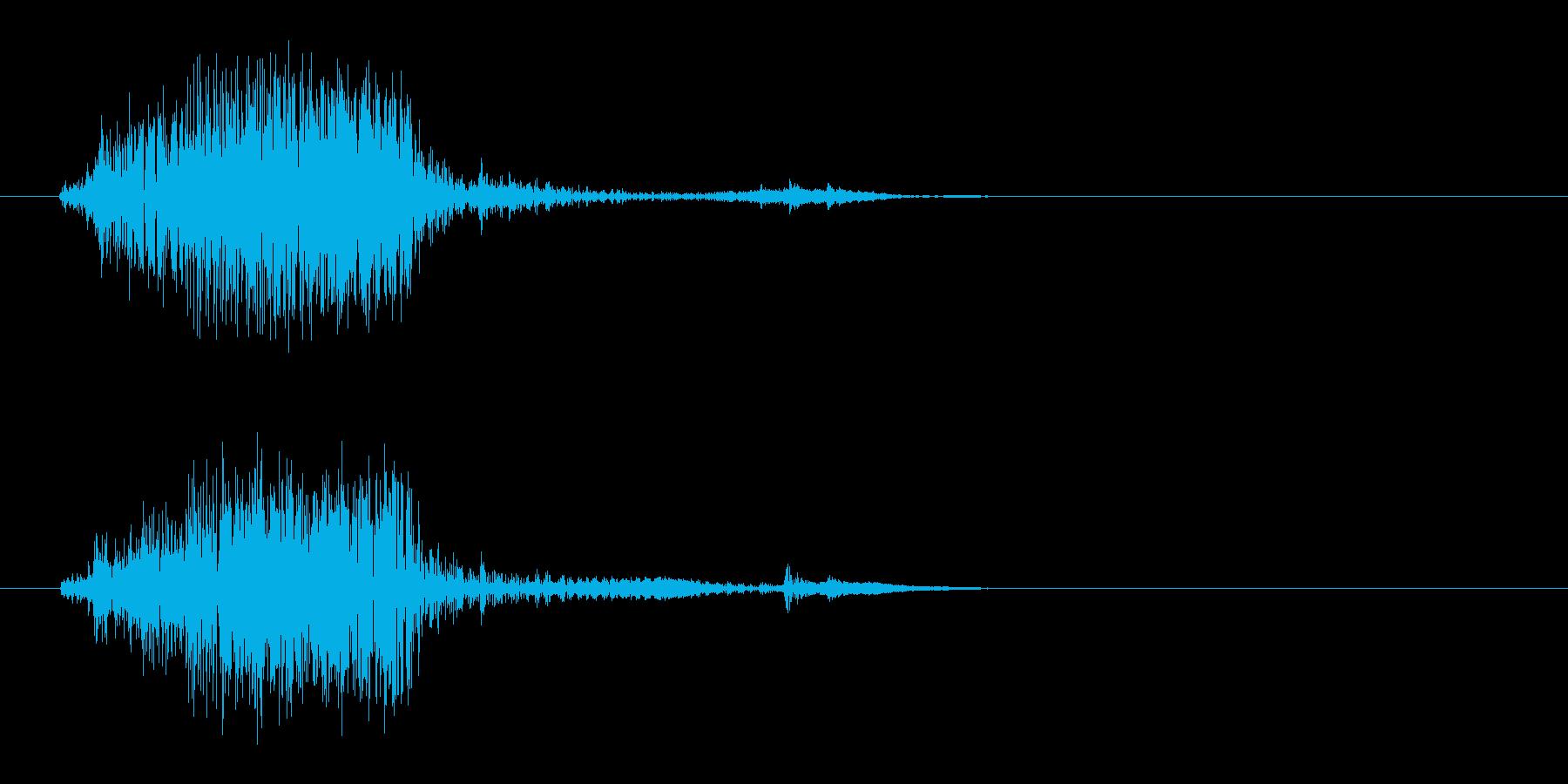 バッ(砂の上にものを落としたような音)の再生済みの波形