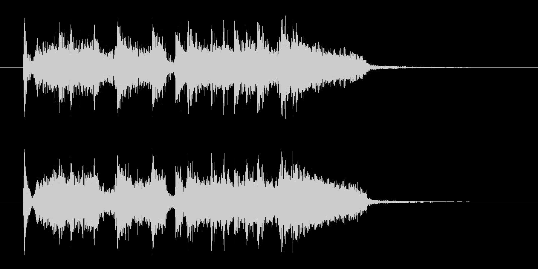 ドタバタと賑やかなロックバンドのジングルの未再生の波形