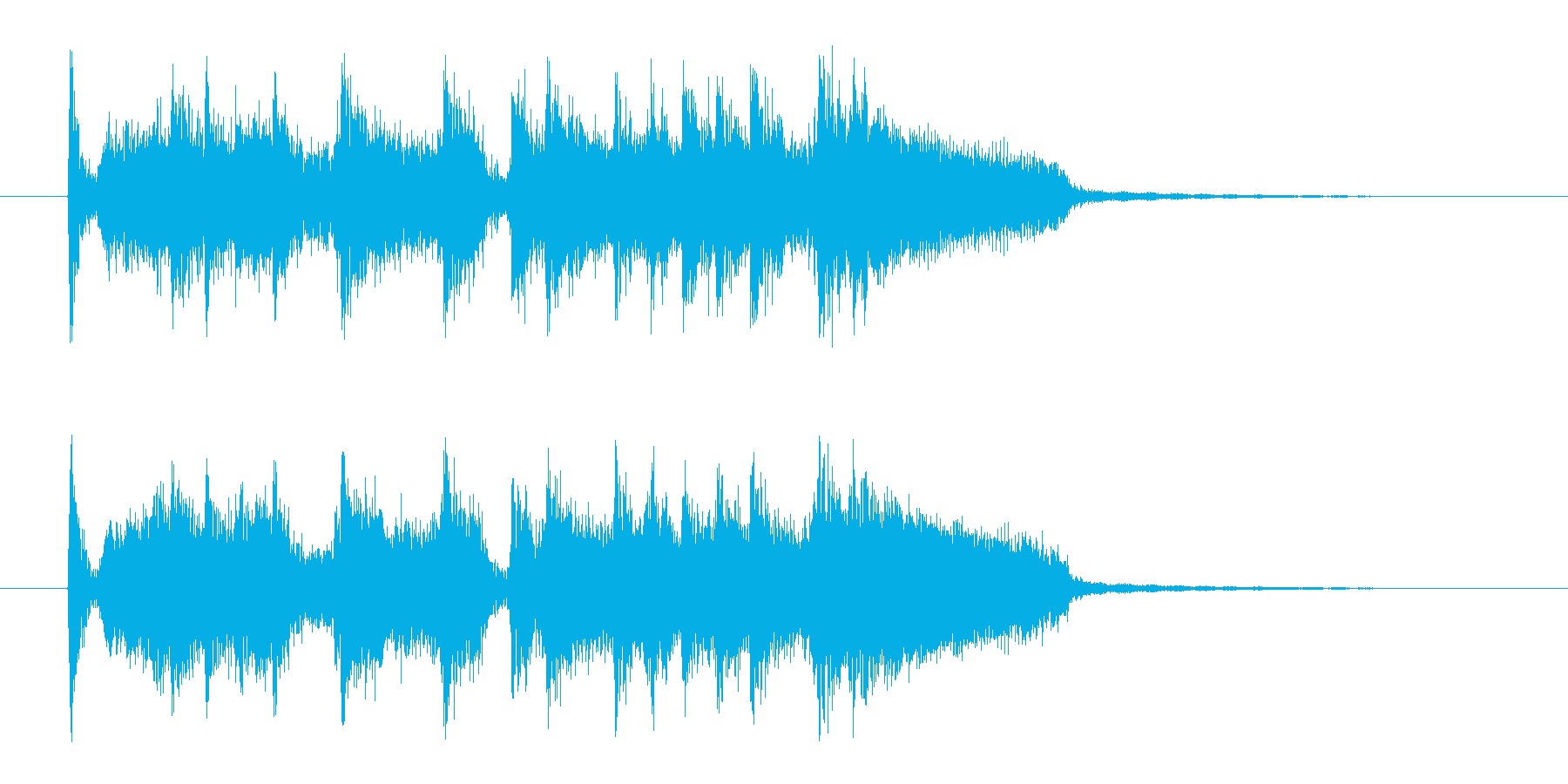 ドタバタと賑やかなロックバンドのジングルの再生済みの波形