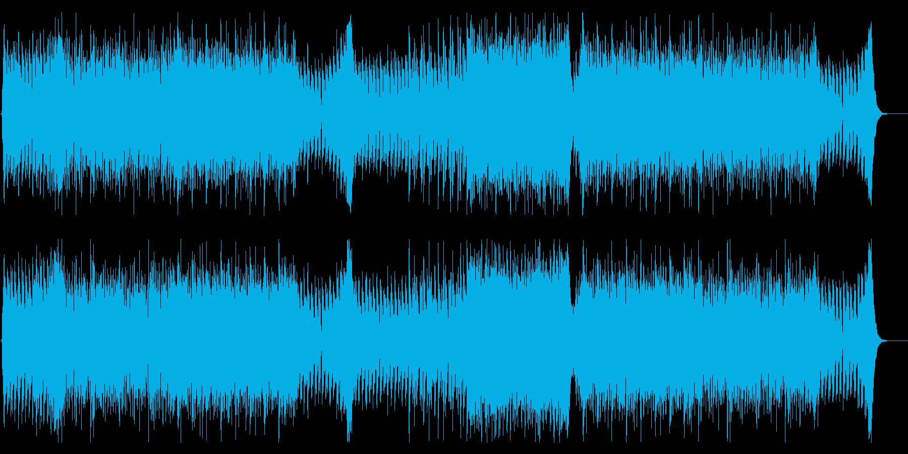 緊迫した疾走感を演出するトレーラー音楽の再生済みの波形