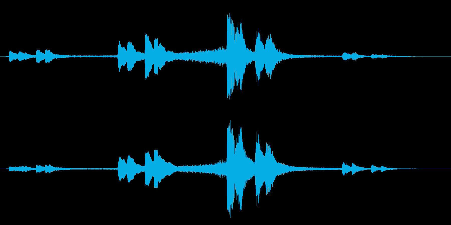 [生録音]冬の夜、消防車の夜警音01の再生済みの波形