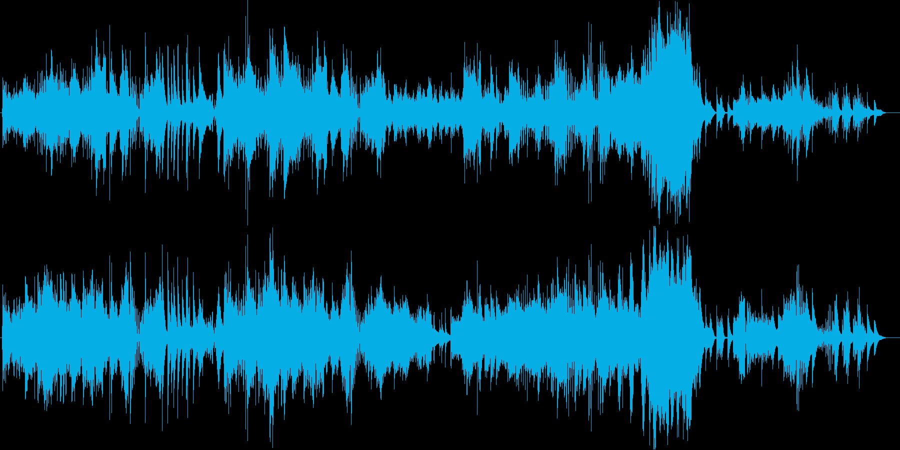 繊細なピアノの音が印象的なピアノBGMの再生済みの波形