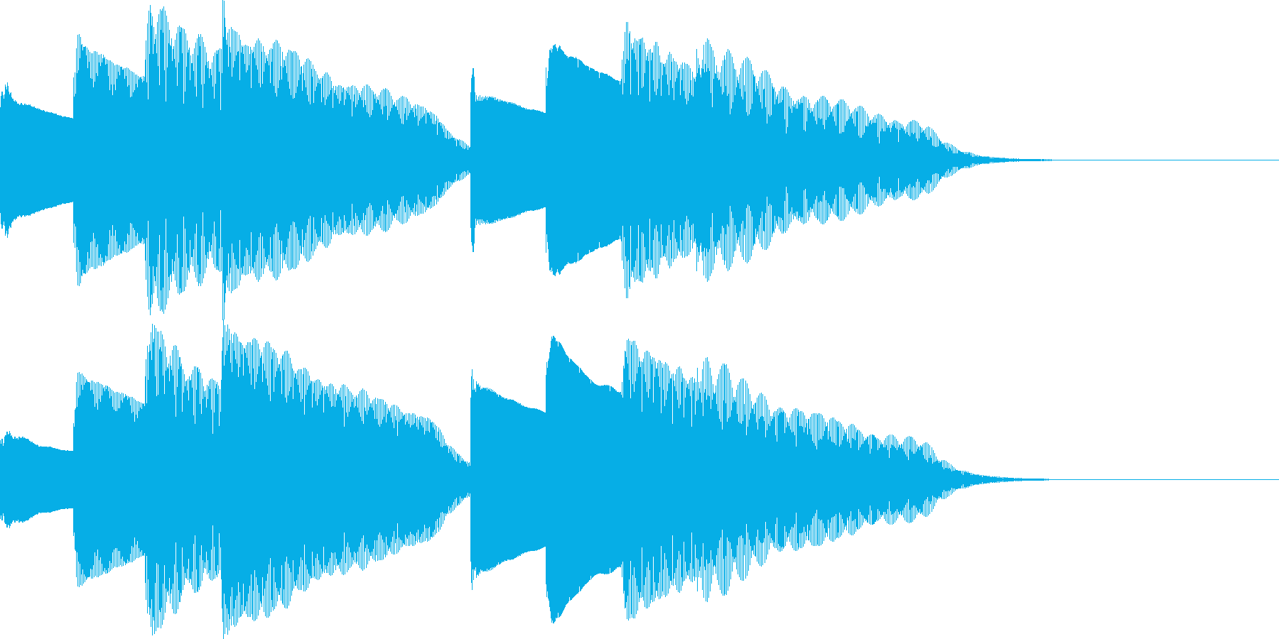 ピンポンパンポン。上向、下降。鉄琴の再生済みの波形