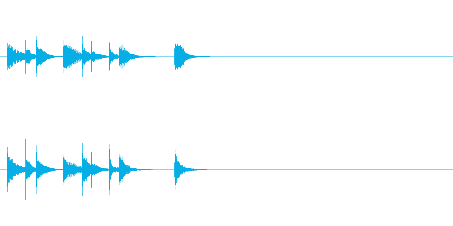 可愛い音のシロフォンを用いたジングルの再生済みの波形