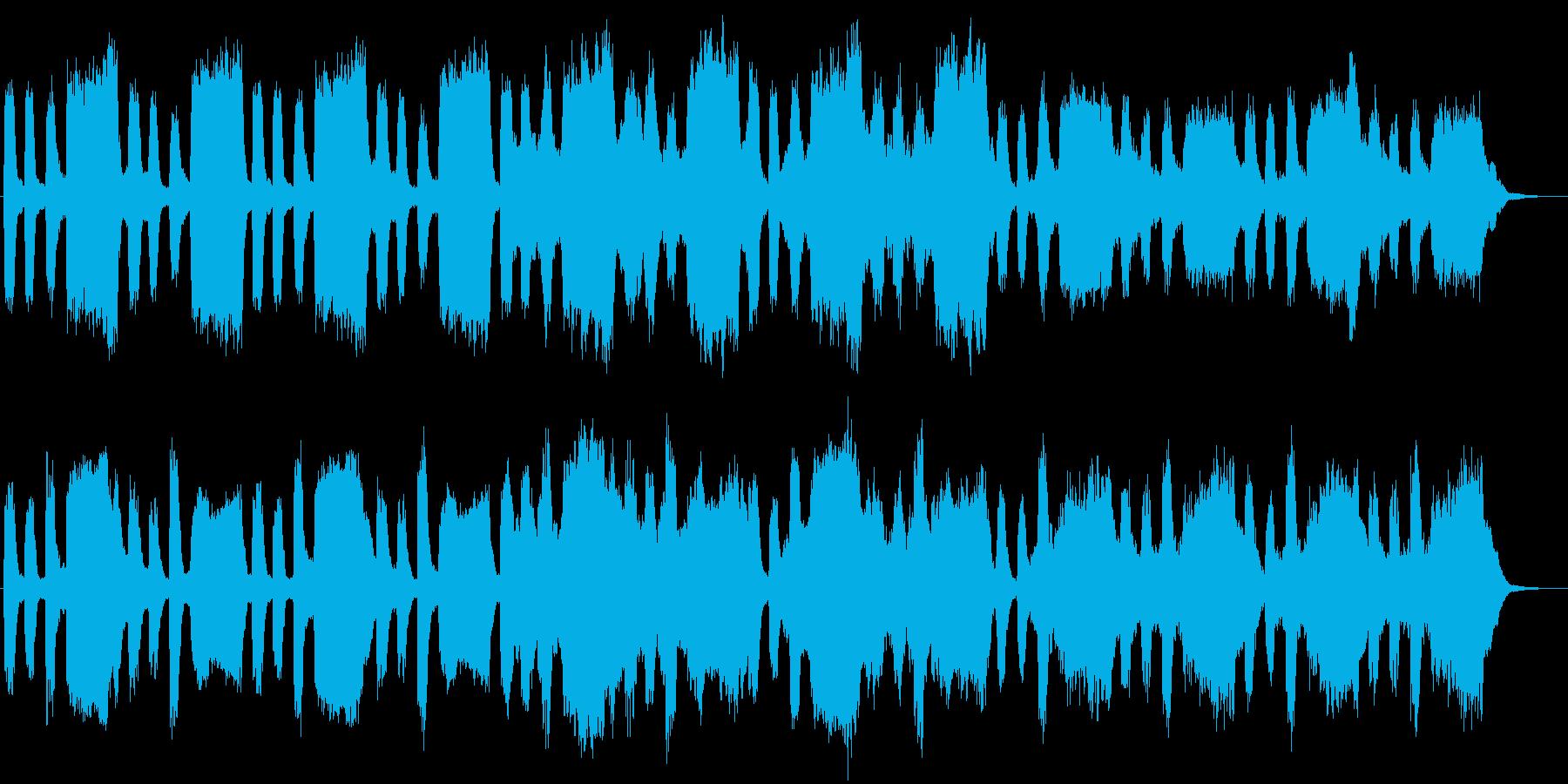 暗闇に潜むものを暗示する不安なBGMの再生済みの波形