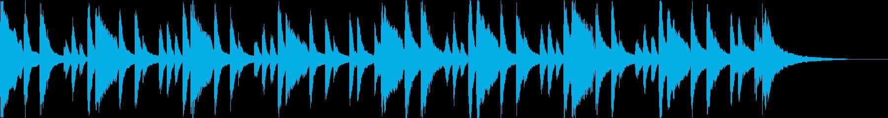 軽快なピアノとベルとドラムのBGMの再生済みの波形