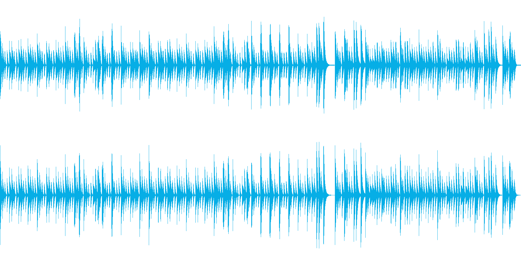 マリンバでループする牧歌的インストの再生済みの波形