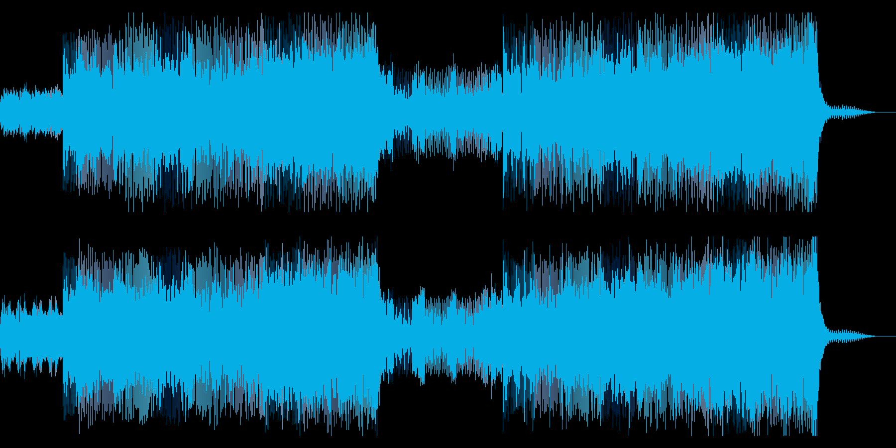 ストリングスとエレキギターの力強いビートの再生済みの波形