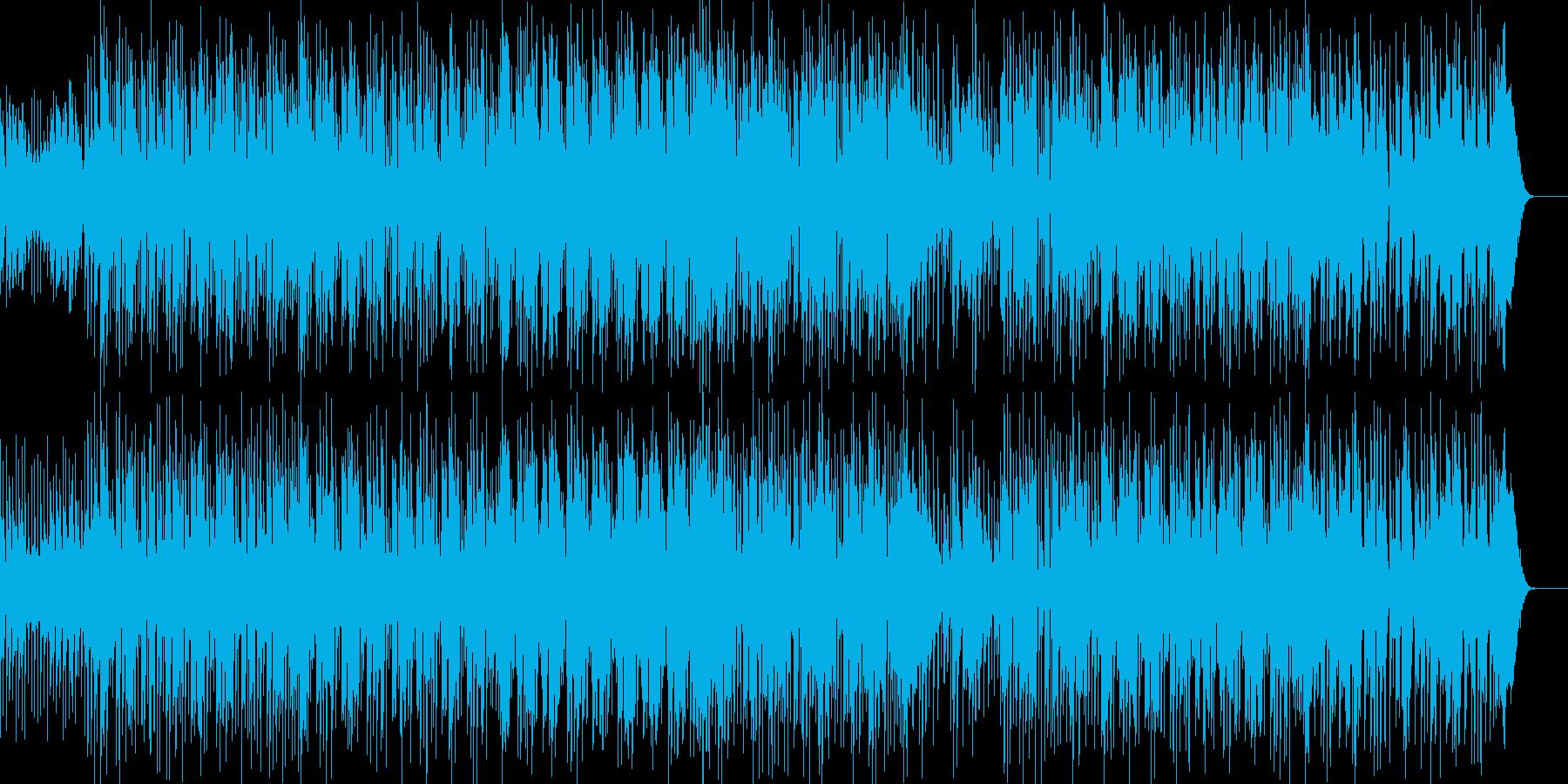 軽快なリズムに怪しげな人声サンプリング曲の再生済みの波形