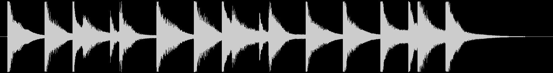 オルゴールとピアノのコミカルなジングルの未再生の波形