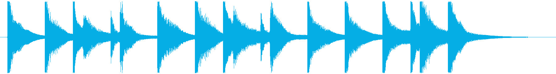オルゴールとピアノのコミカルなジングルの再生済みの波形