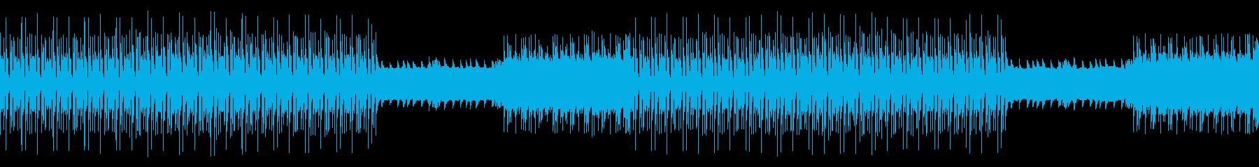 メカニカルなシンセのスピード感あるBGMの再生済みの波形