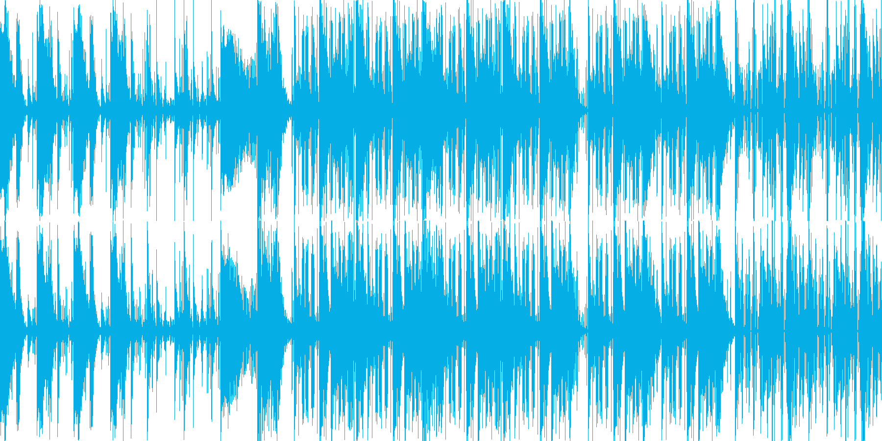 遅めのテンポの緊迫したBGMの再生済みの波形