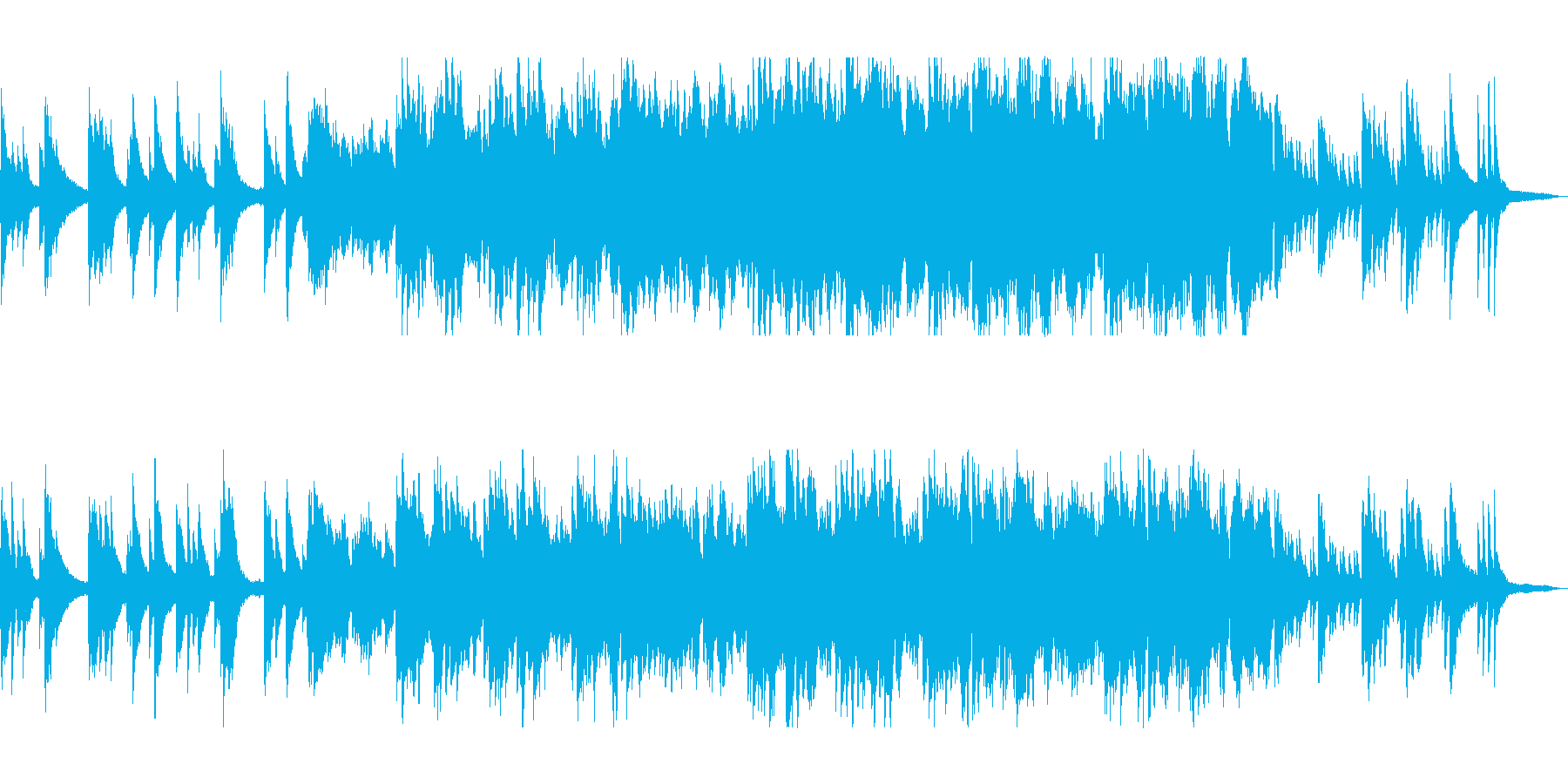 ピアノが演奏する静かな和風曲の再生済みの波形