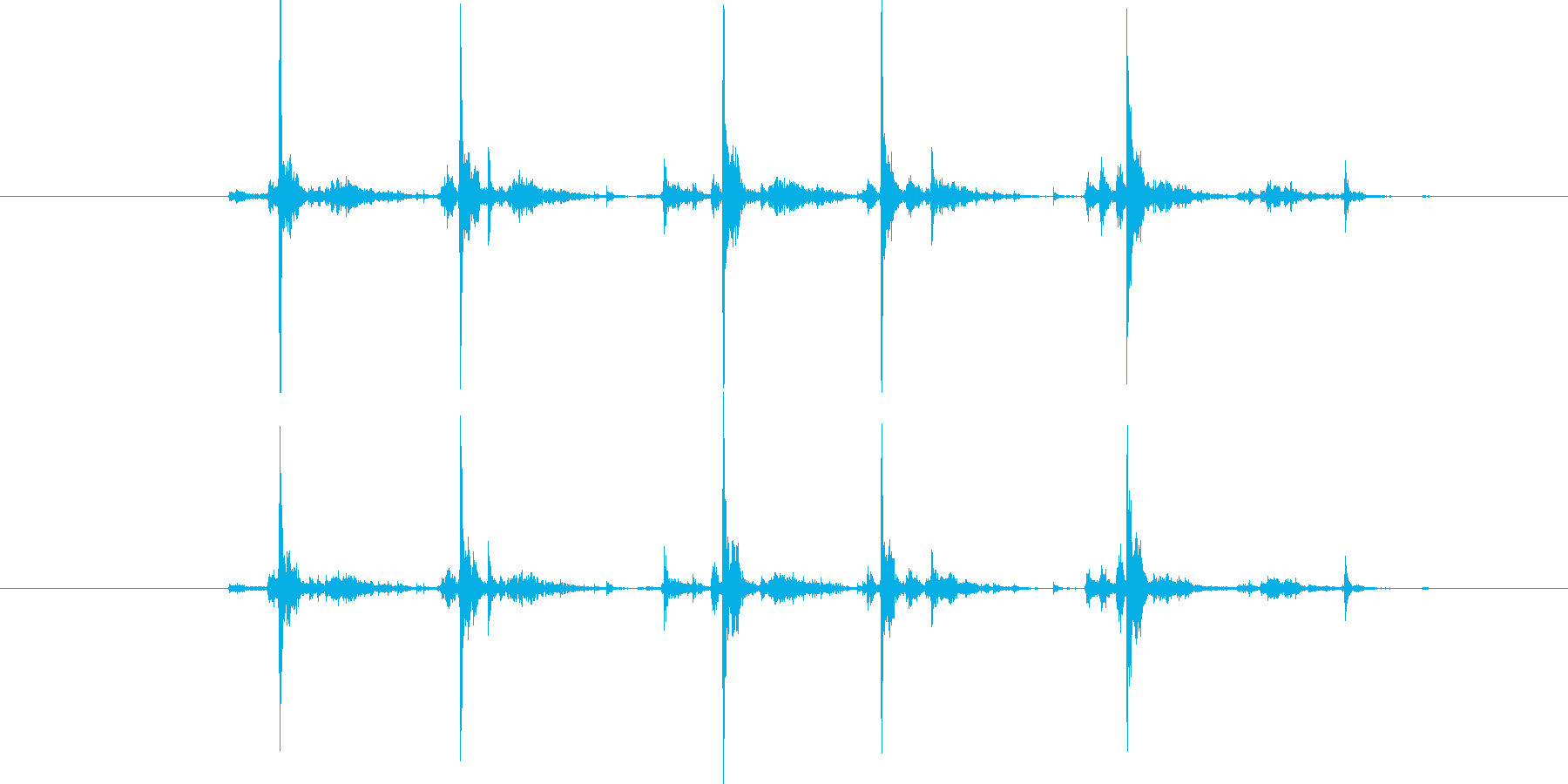 タイプライター5連打の再生済みの波形