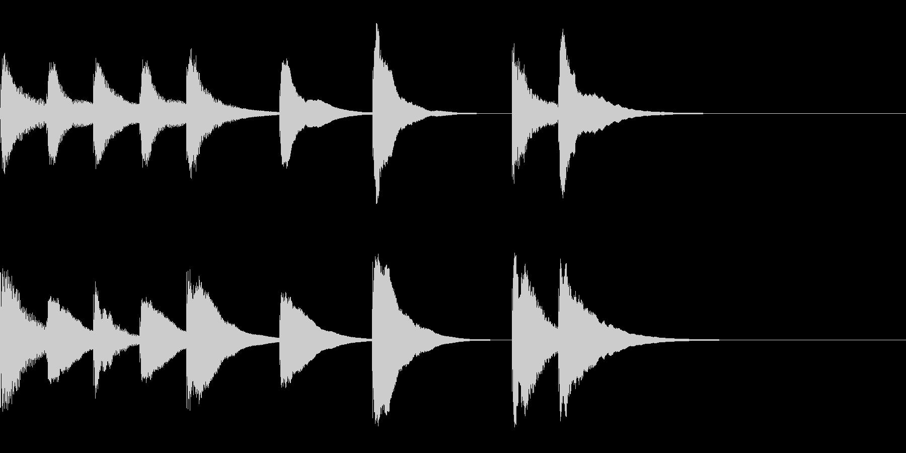 木琴のかわいい4秒ジングルの未再生の波形