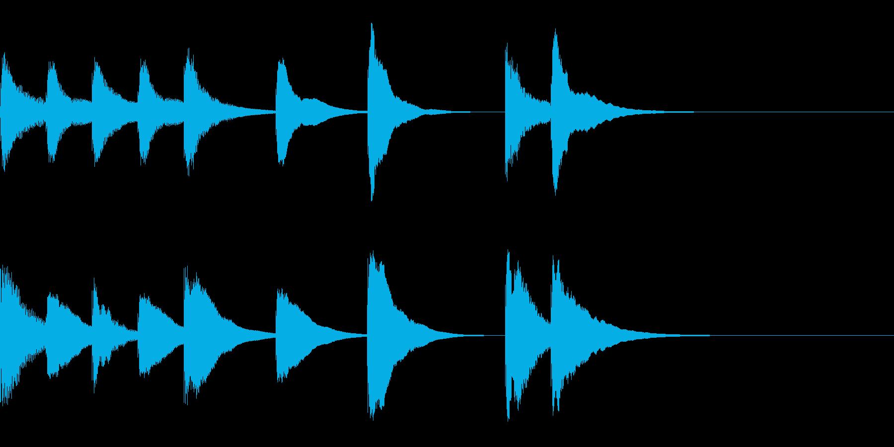 木琴のかわいい4秒ジングルの再生済みの波形