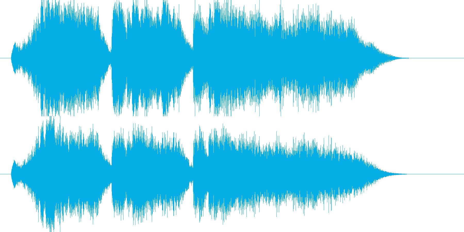 衝撃的なシンセ・シンバルのサウンドの再生済みの波形