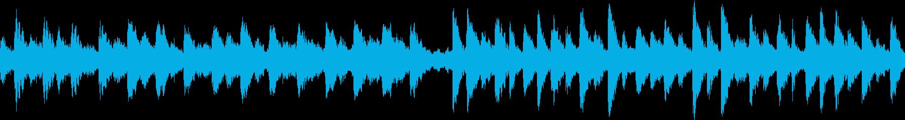 不気味な鐘とレコードノイズのループ用楽曲の再生済みの波形