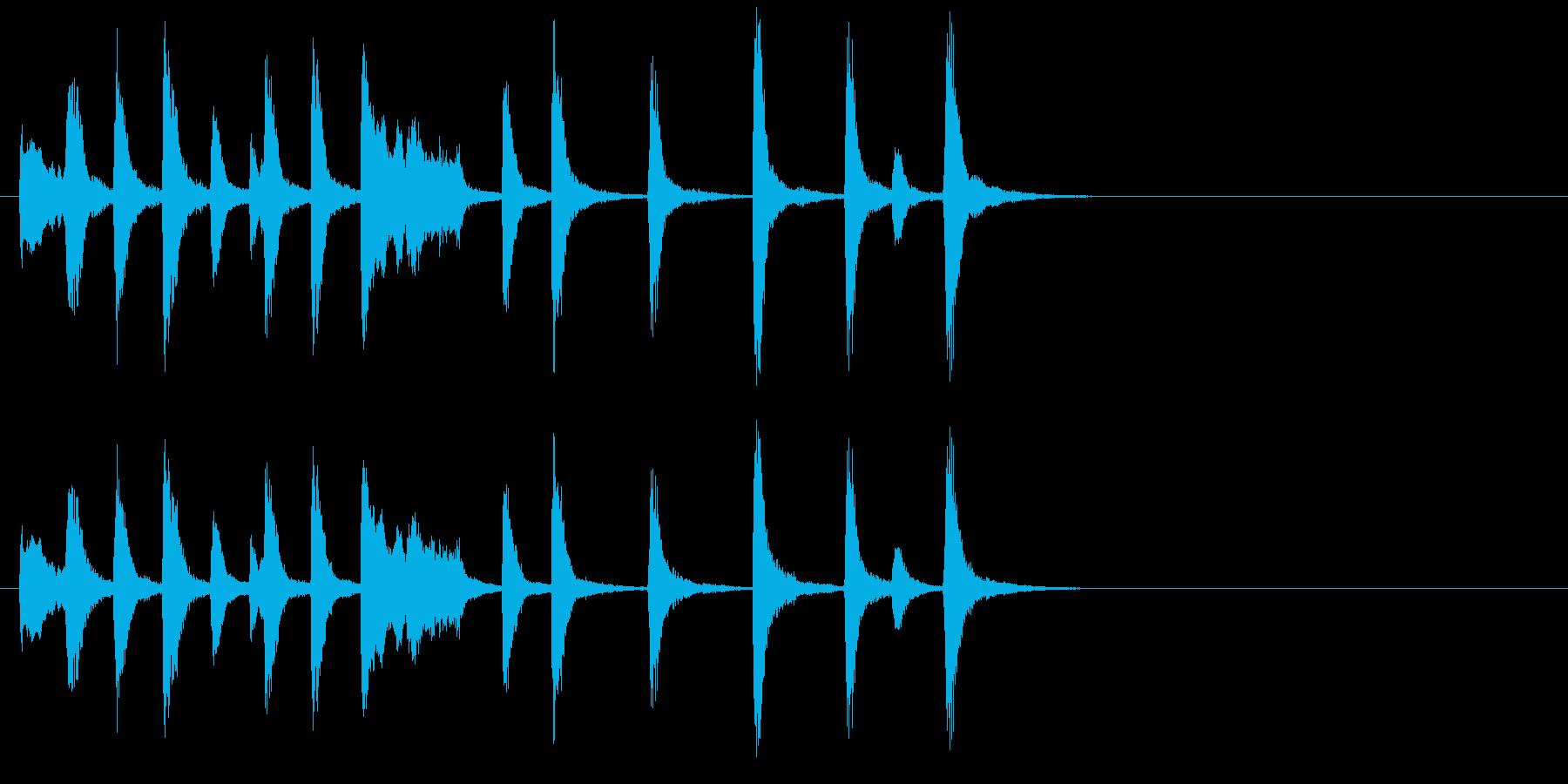 ピアノの明るくほのぼのとしたジングルの再生済みの波形