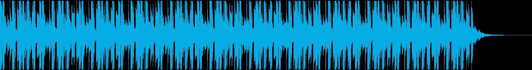 ハイテンポな電子ジャズっぽいBGMの再生済みの波形