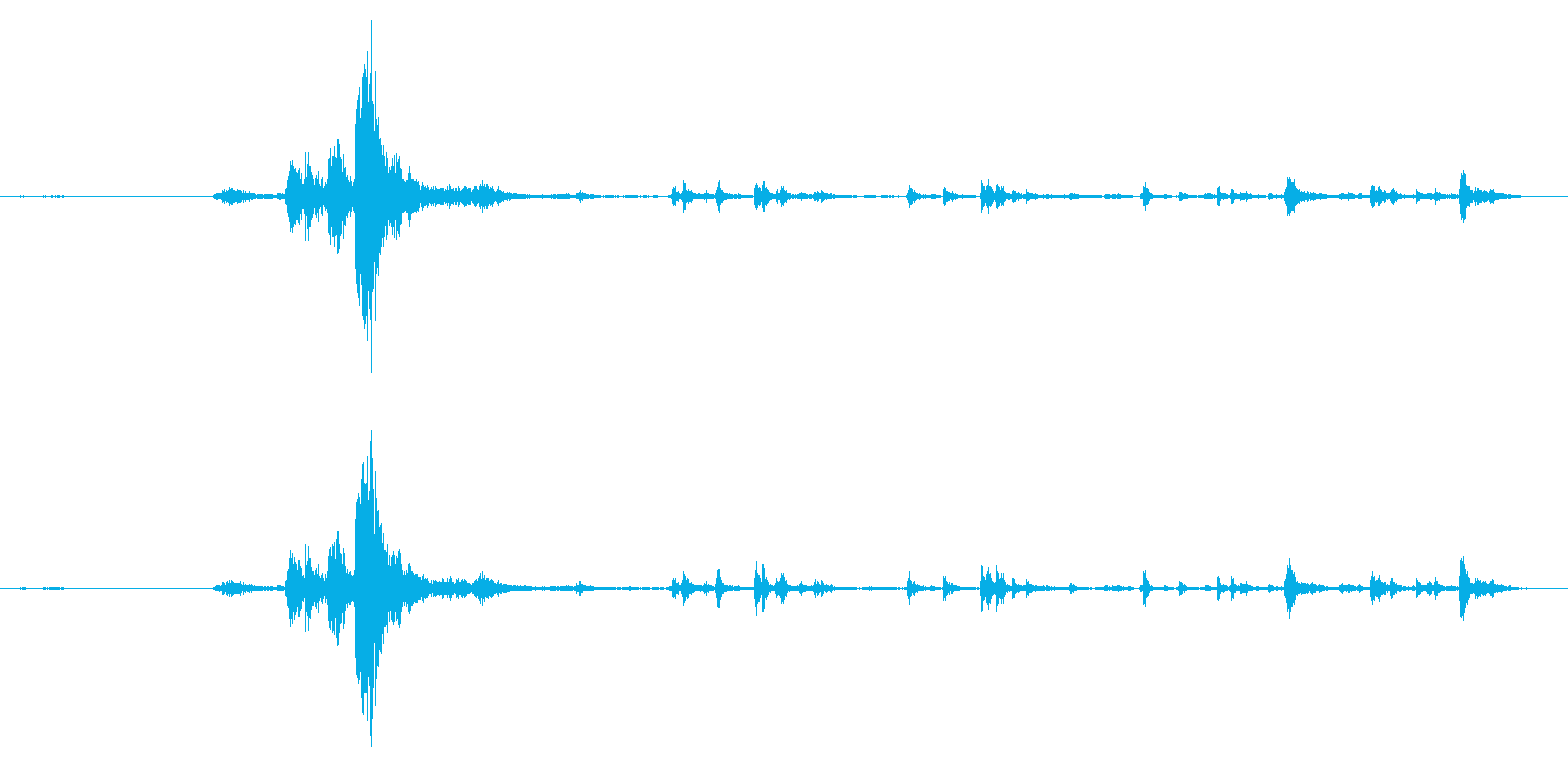 ガシャン:自販機の商品とおつりが出るの再生済みの波形