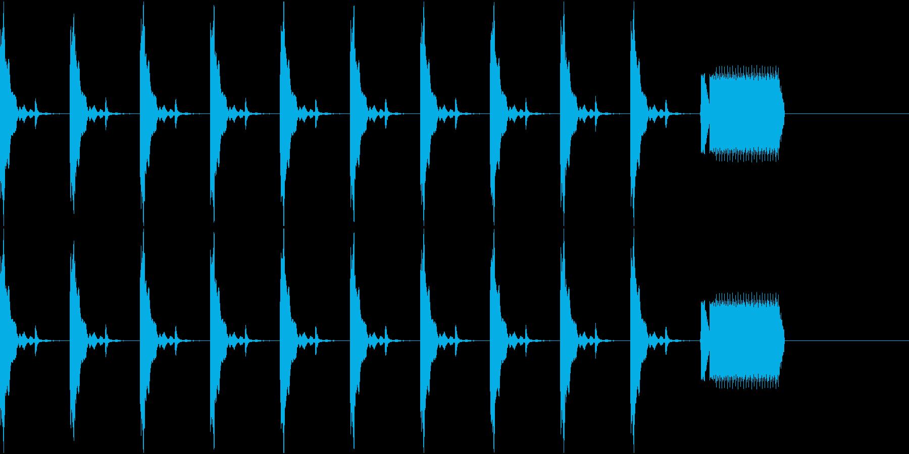カウントダウン10秒チクタク+ホイッスルの再生済みの波形