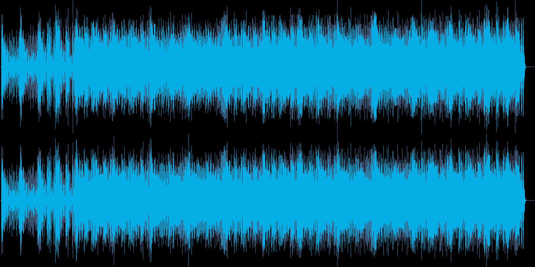疾走感と躍動感のあるドラムとシンセの曲の再生済みの波形