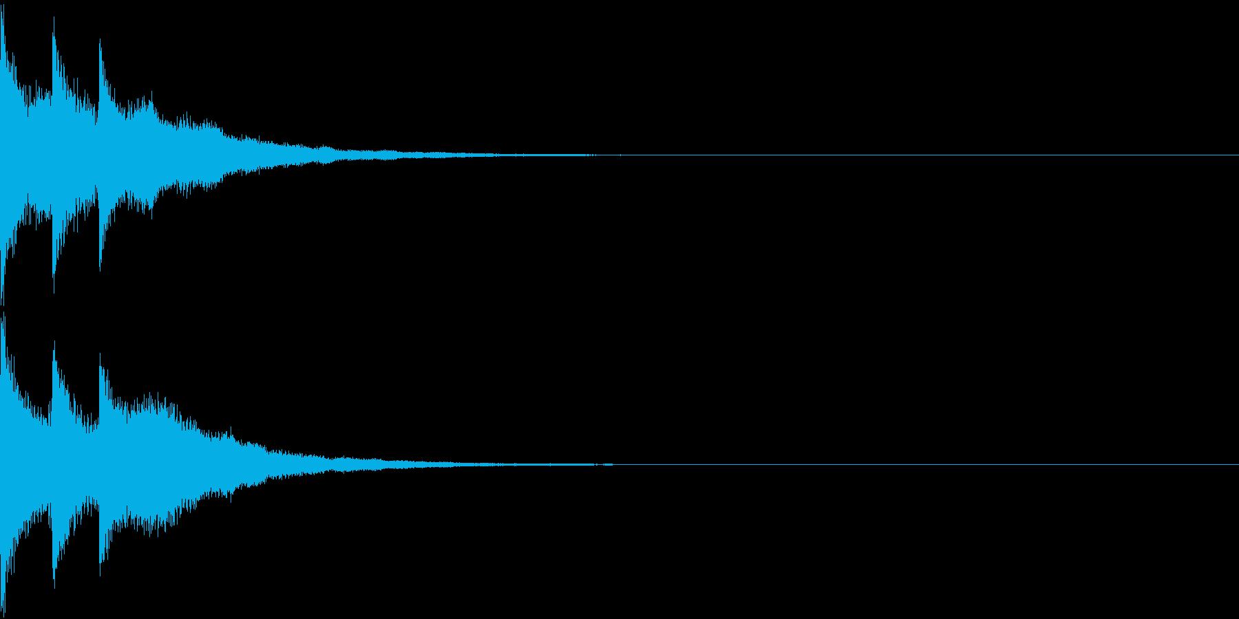 明るい クリック 決定 ベル音 響きの再生済みの波形