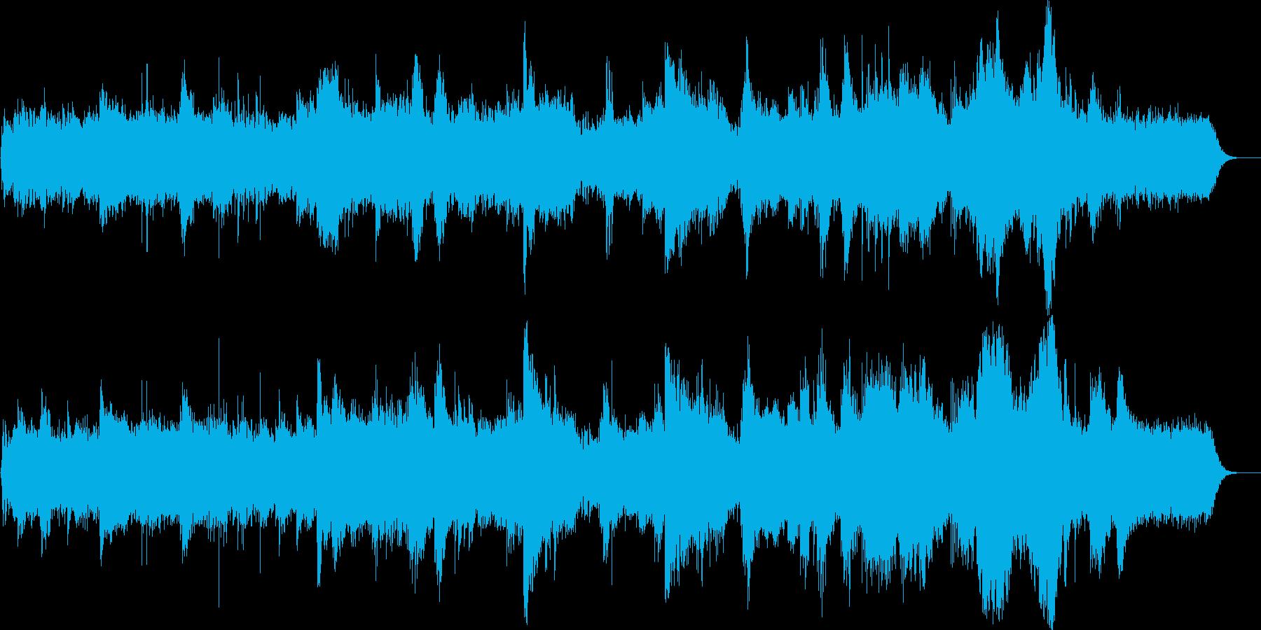 静かな水音とピアノとシンセサイザーの再生済みの波形