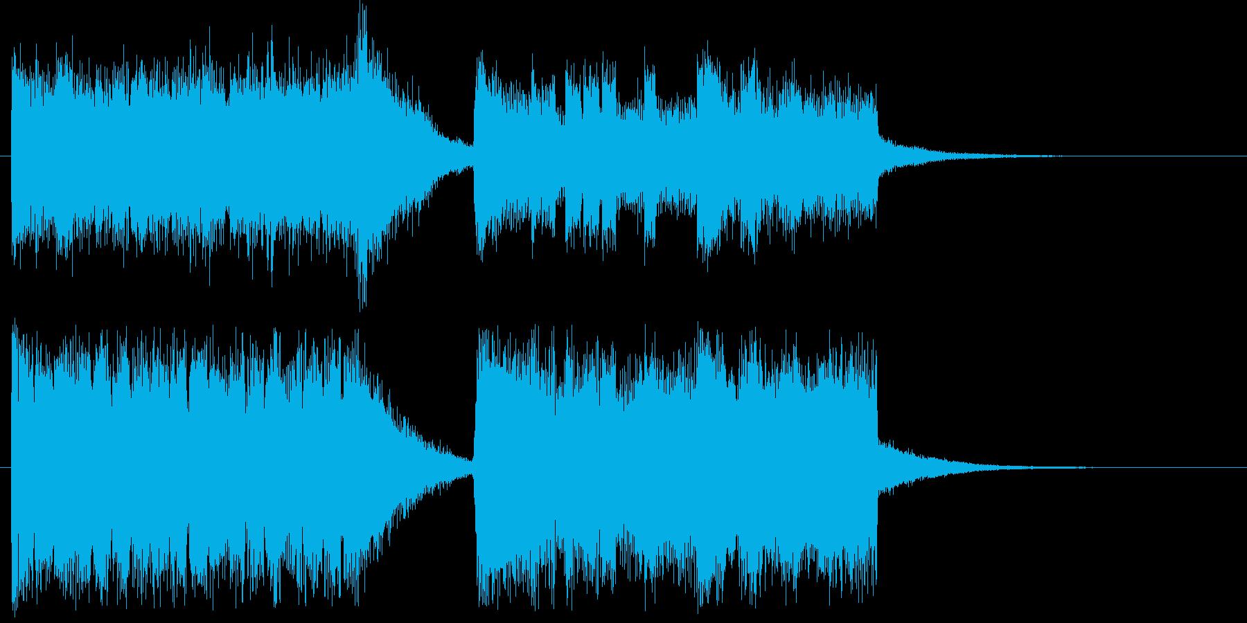 高い所から急降下する吹奏楽器の愉快な曲の再生済みの波形