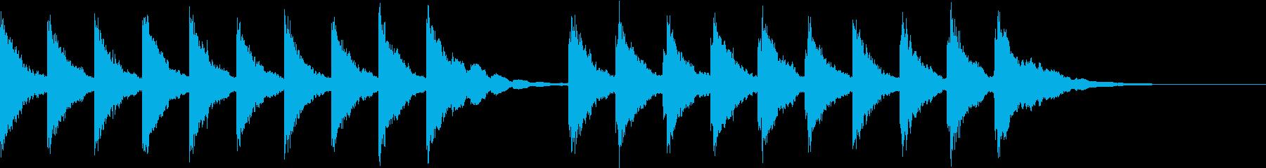 シンプルな鐘の音の開演ベルの再生済みの波形