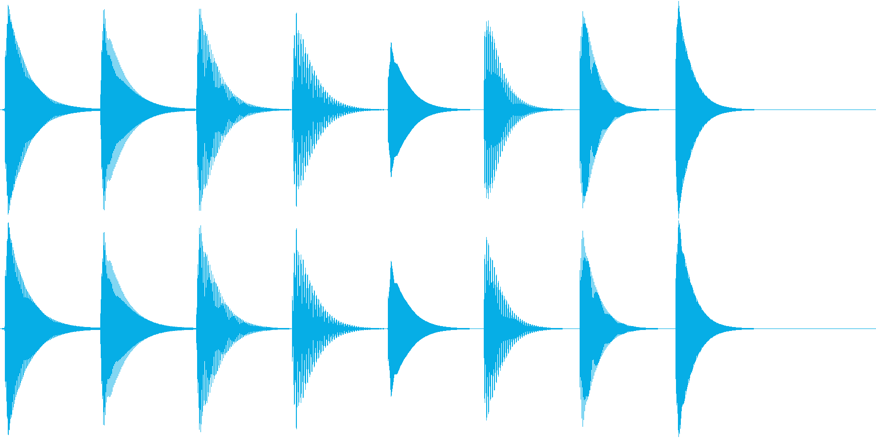 シンプルな3秒ほどの短い音階で、着信音…の再生済みの波形