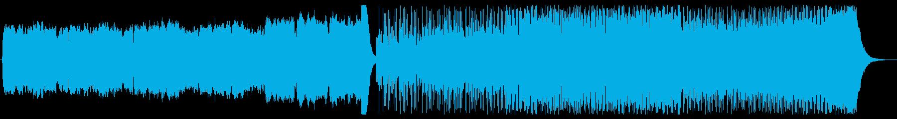荘厳なパイプオルガンから激しいロックへの再生済みの波形