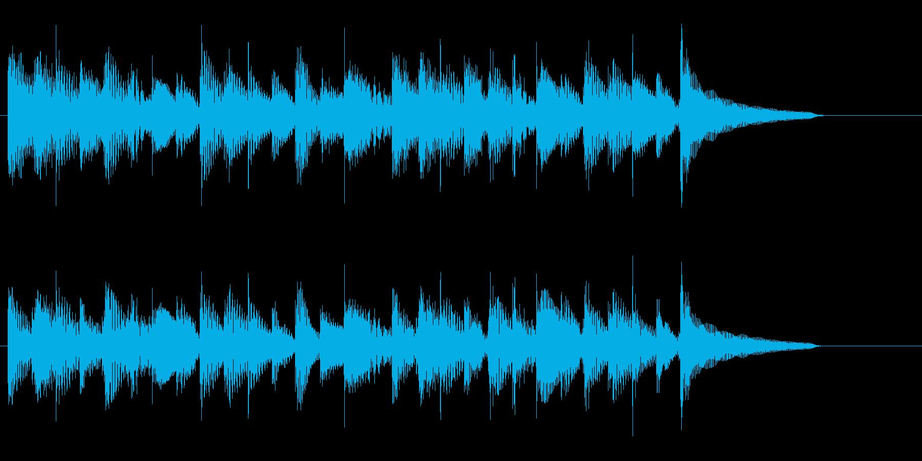 マリンバとアコギの優しいジングルの再生済みの波形