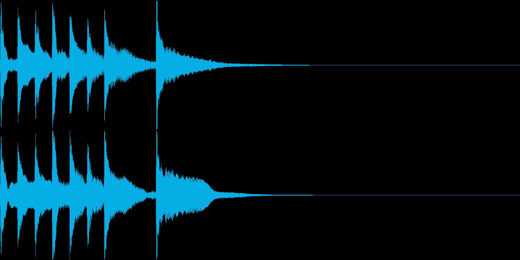 琴とビブラフォンを使った短いジングルの再生済みの波形