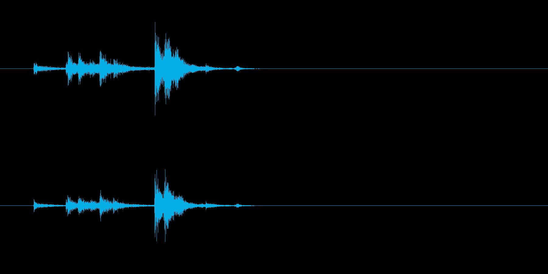 スチール缶貯金箱にコインを入れる音2の再生済みの波形