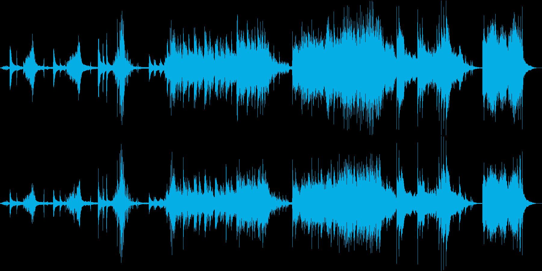 綺麗で感動的なハッピーピアノストリングスの再生済みの波形
