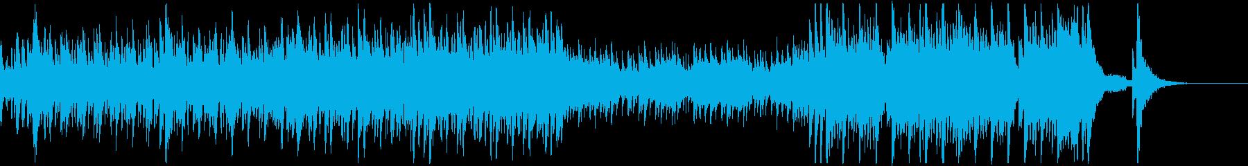 太鼓と三味線と尺八の迫力あるアンサンブルの再生済みの波形