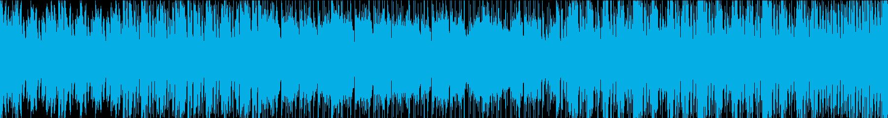 緊迫感のあるバトルシーンのBGMの再生済みの波形