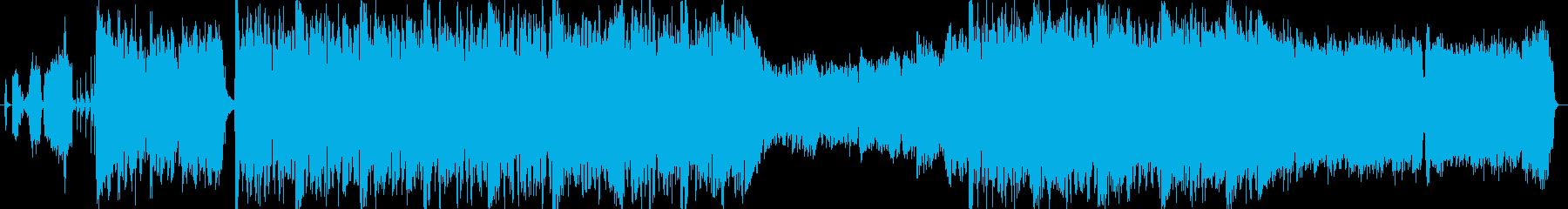 激しい曲調とリズムのオーケストラサウンドの再生済みの波形